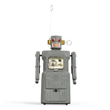 View 3. Thumbnail of Lot 287. A rare TM (Masudaya) battery-operated tin-plate Radicon Robot, Japan, circa 1958.