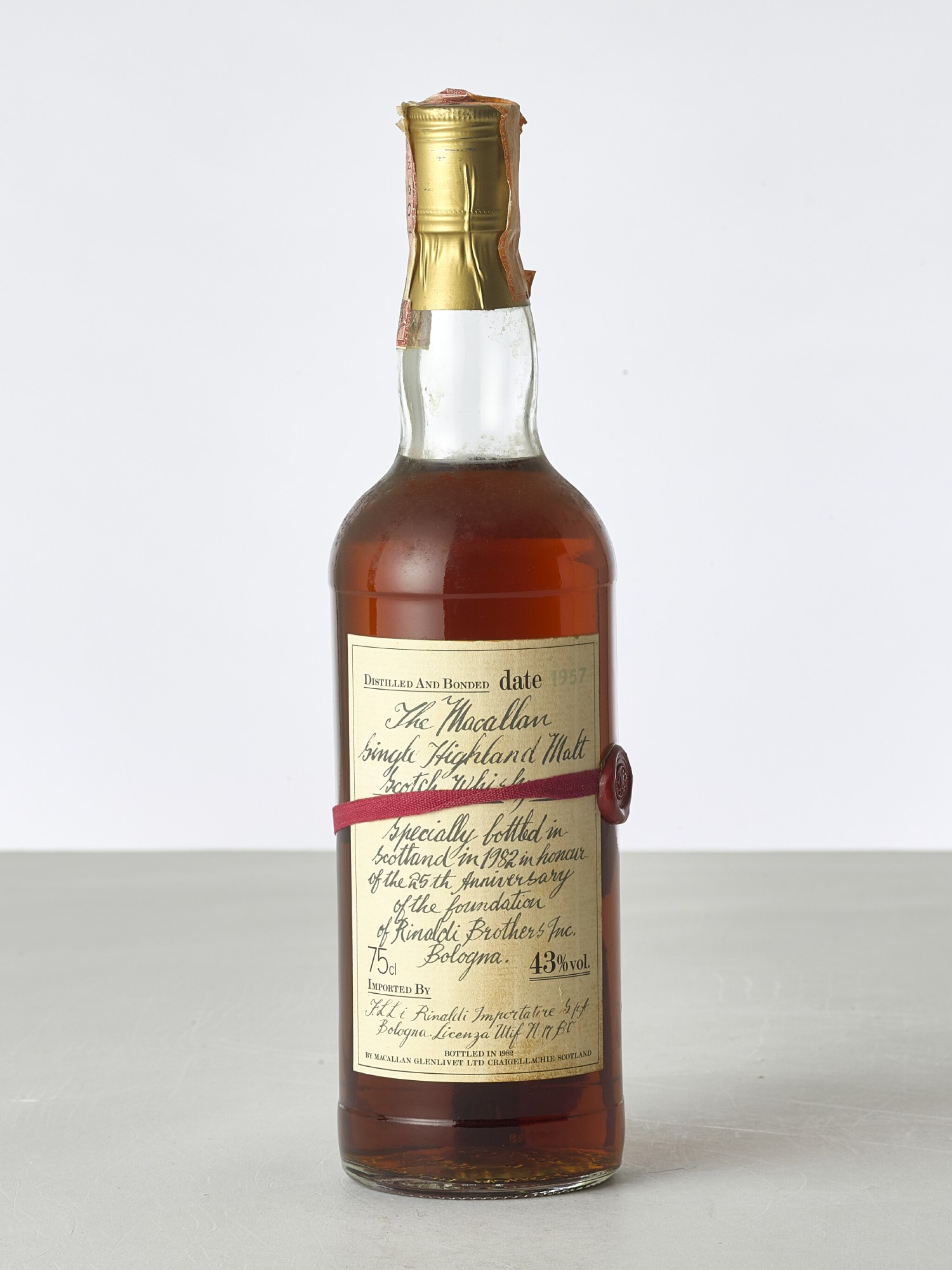 View full screen - View 1 of Lot 2034. The Macallan Red Ribbon 43.0 abv 1957 (1 BT).