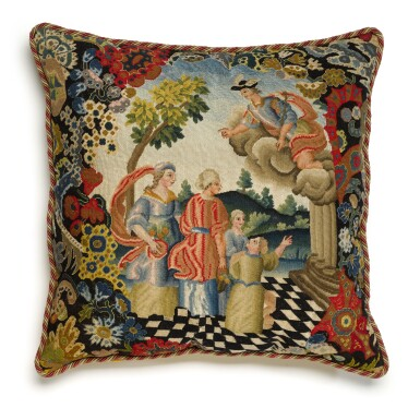 View 2. Thumbnail of Lot 24. A group of three European textiles panels, now cushions, late 17th and 18th century.