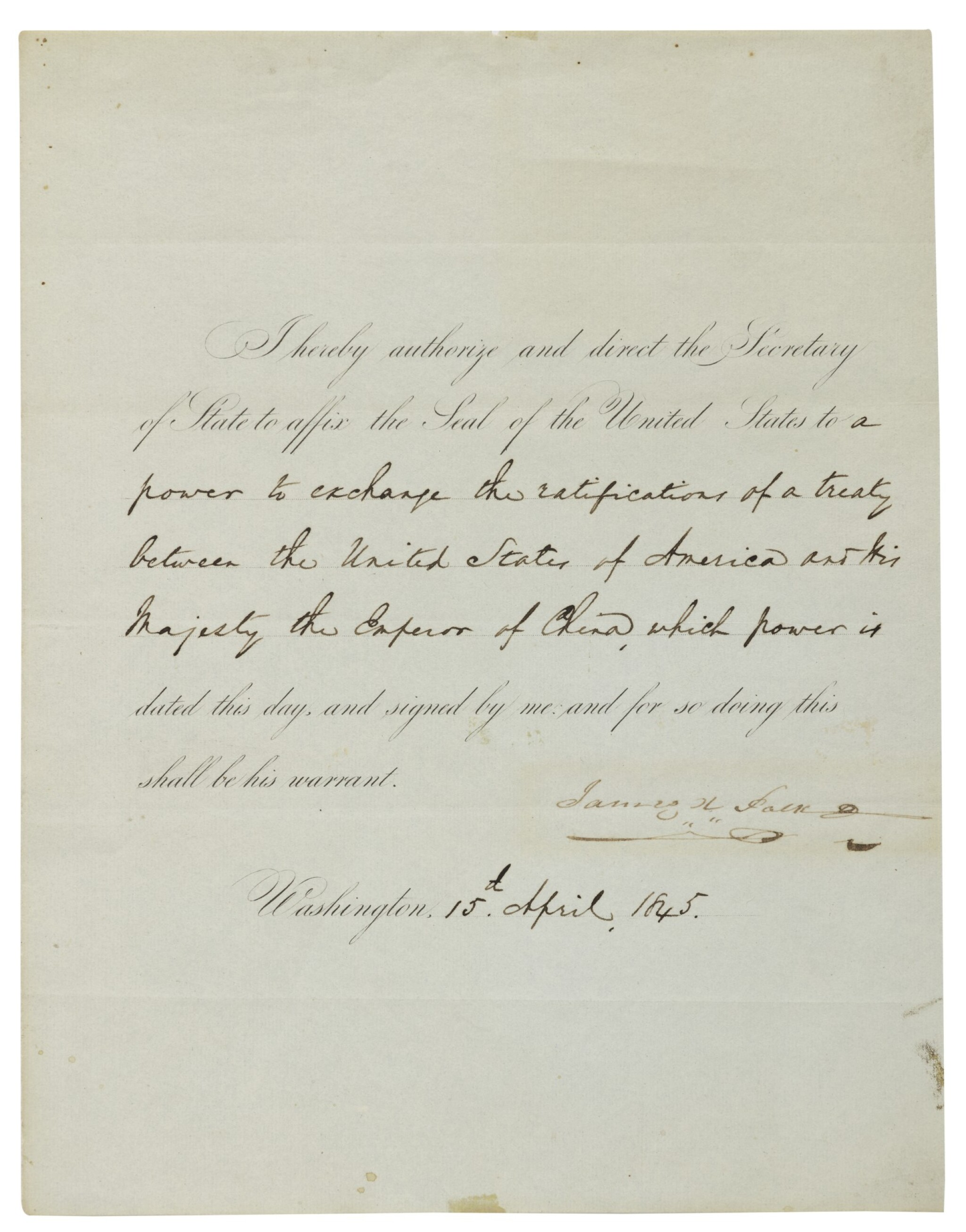 """View full screen - View 1 of Lot 79. POLK, JAMES K. 