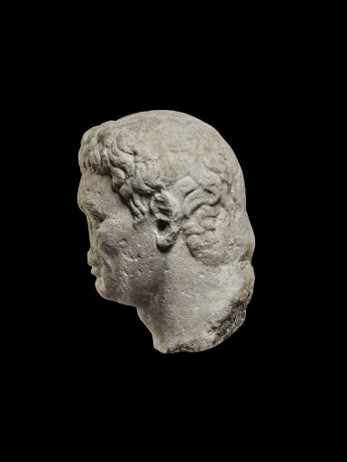 View 3. Thumbnail of Lot 75. A Monumental Marble Portrait Head of the Emperor Nerva, late 1st Century A.D..