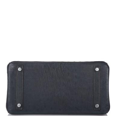 View 6. Thumbnail of Lot 2. Hermès Bleu Indigo Birkin 30cm of Ostrich with Palladium Hardware.