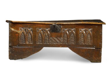 View 1. Thumbnail of Lot 5. A rare English oak boarded and relief carved chest, late 15th / early 16th century.