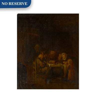 View 1. Thumbnail of Lot 19. An interior with a family at supper.