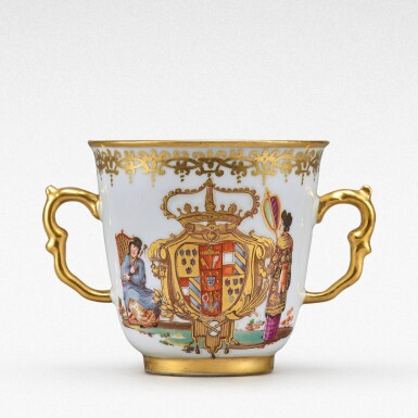 View 1. Thumbnail of Lot 92. An extremely rare Meissen armorial two-handled beaker from the service made for Elizabeth Farnese, Queen of Spain, Circa 1737 .