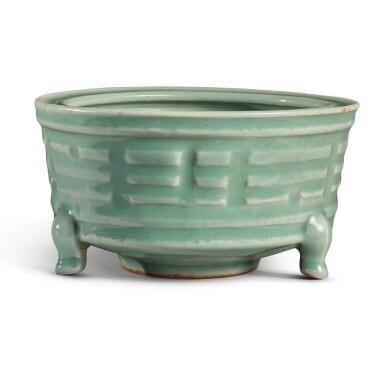 View 2. Thumbnail of Lot 115. A 'Longquan' celadon-glazed 'trigram' censer, Southern Song / Yuan dynasty   南宋 / 元 龍泉窰青釉八卦紋奩式爐.