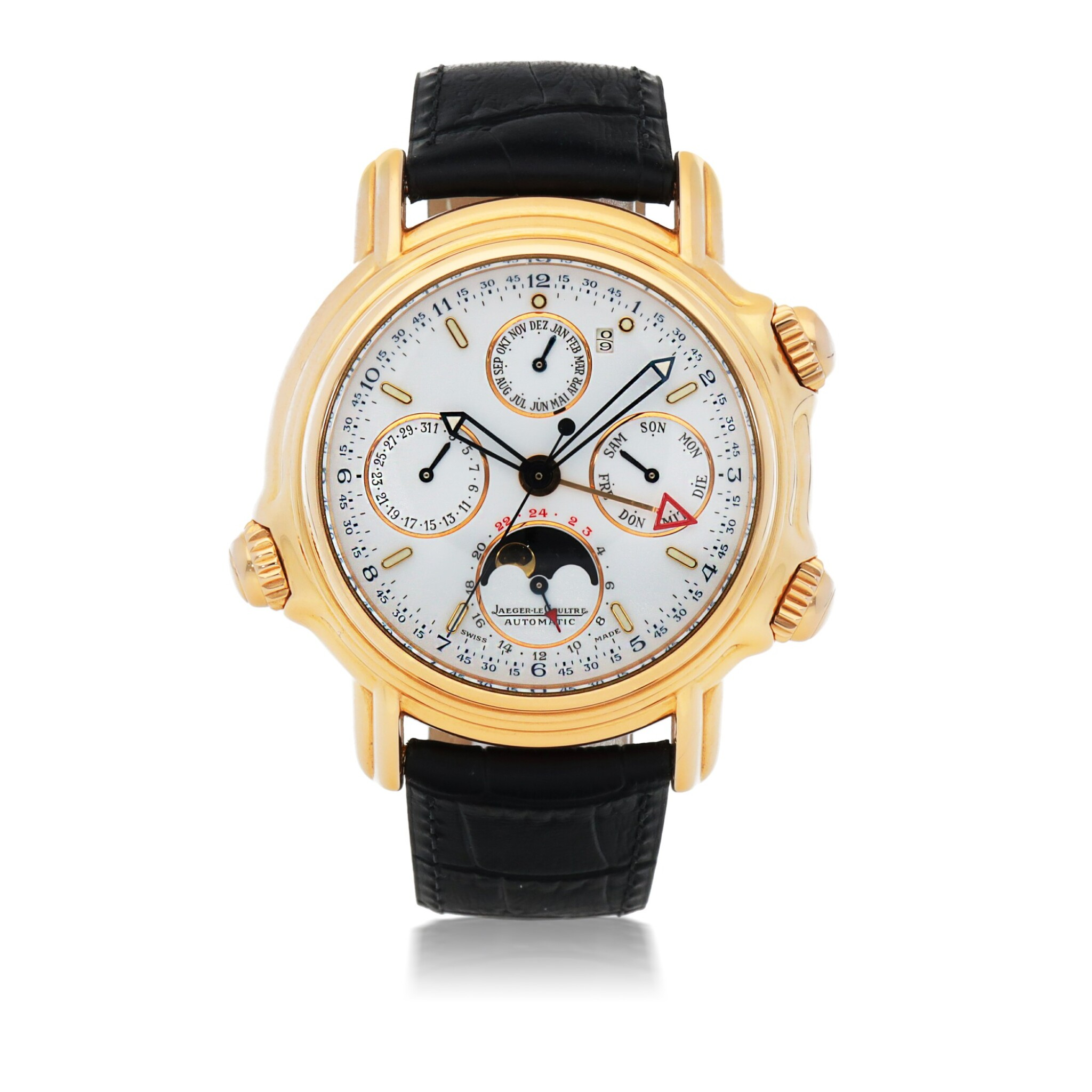View full screen - View 1 of Lot 656.  JAEGER-LECOULTRE    GRAND REVÉIL, REF 180.2.99   LIMITED EDITION PINK GOLD PERPETUAL CALENDAR WRISTWATCH WITH ALARM, MOON PHASES, 24-HOUR AND YEAR INDICATION   CIRCA 1995.