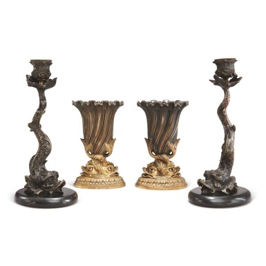 View 1. Thumbnail of Lot 91. A PAIR OF REGENCY STYLE CAST METAL DOLPHIN CANDLESTICKS ON MARBLE BASES, ALONG WITH A PAIR OF REGENCY STYLE GILT AND PATINATED BRONZE DOLPHIN VASES.