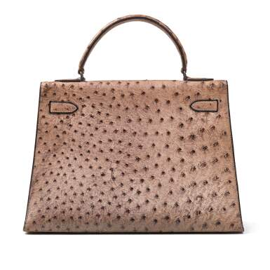 View 4. Thumbnail of Lot 356. Mousse Kelly 35cm in Ostrich Leather with Gold Hardware, 1978.