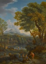 Arcadian landscape with figures on a path in the foreground, and beside a lake