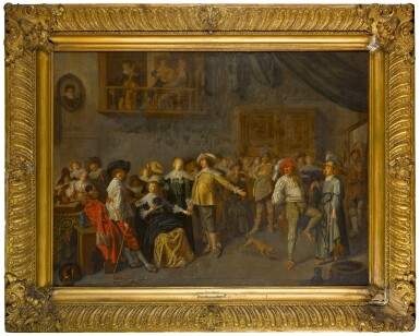View 2. Thumbnail of Lot 154. An elegant company merrymaking in an interior.
