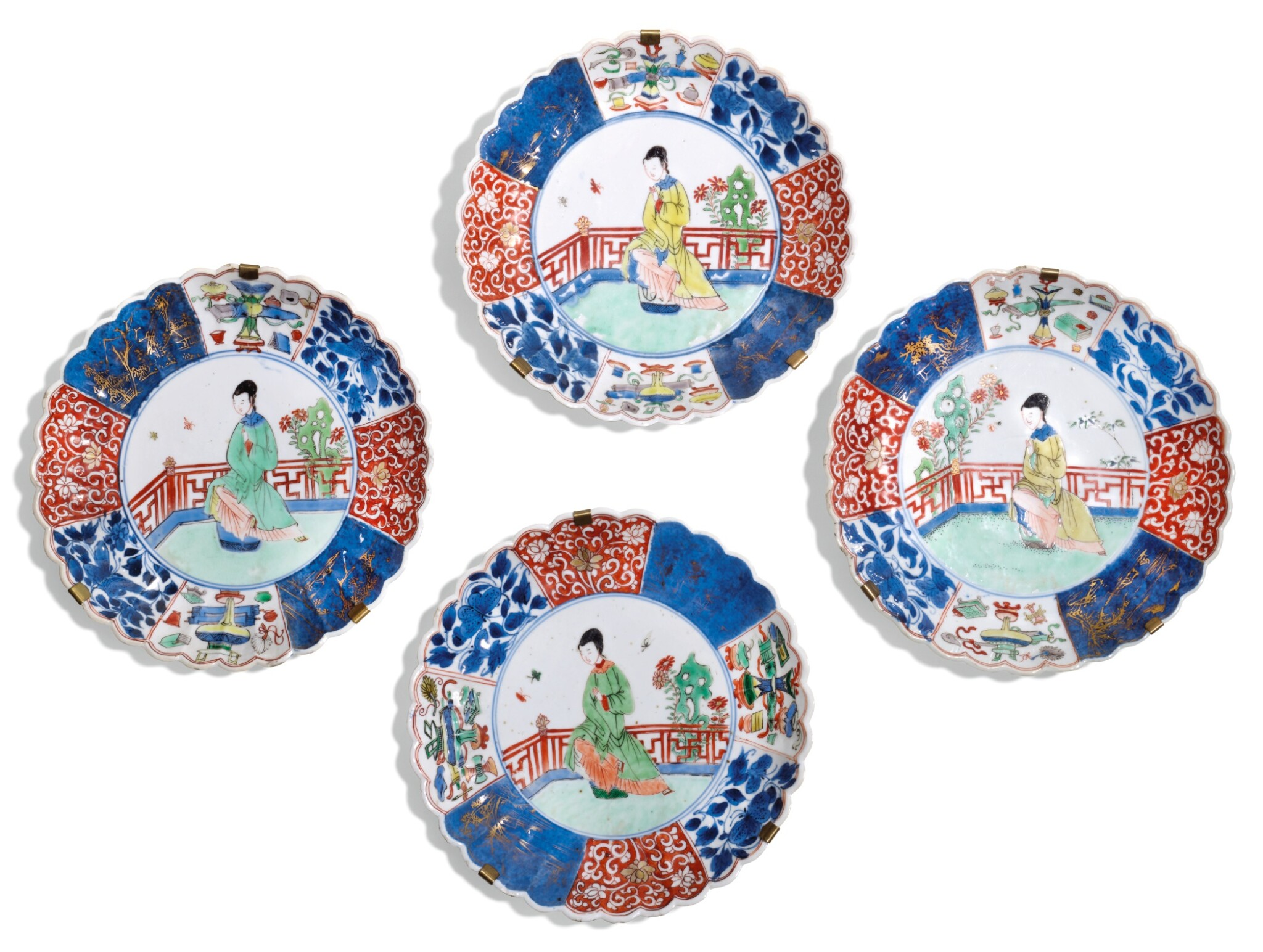 View full screen - View 1 of Lot 8.  A SET OF FOUR FAMILLE-VERTE DISHES QING DYNASTY, 18TH CENTURY.