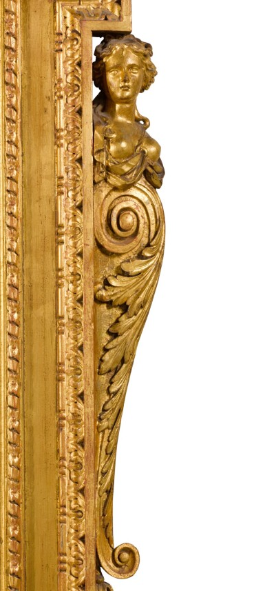 View 4. Thumbnail of Lot 57. A GEORGE II CARVED GILTWOOD MIRROR, CIRCA 1735.