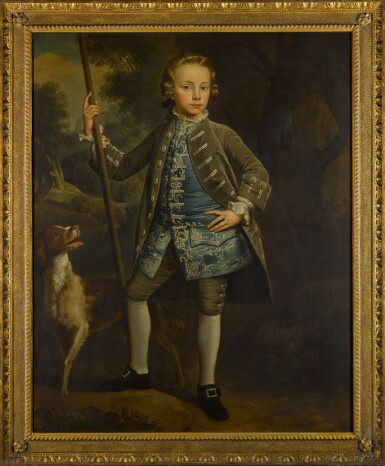 View 2. Thumbnail of Lot 420. Portrait of a boy in a landscape, full-length, with a dog beside him.
