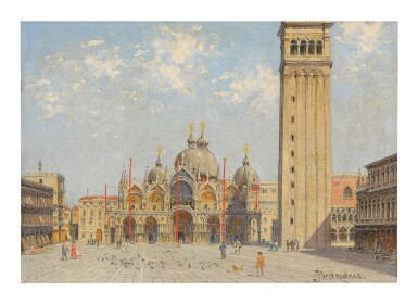 View 1. Thumbnail of Lot 300. ANTONIETTA BRANDEIS | PIAZZA SAN MARCO WITH THE PALAZZO DUCALE AND CAMPANILE.