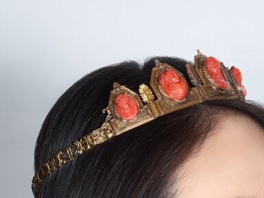 View 5. Thumbnail of Lot 9001. Yellow Gold and Coral Diadem, 1845 | 黃金 配 珊瑚 皇冠, 1845年.