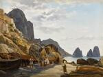 Fishermen on Capri with the Faraglioni in the Background