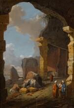 BARTHOLOMEUS BREENBERGH | Roman ruins with turbaned figures