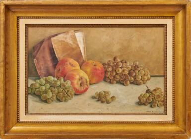 View 2. Thumbnail of Lot 89. Nature morte aux pommes et aux raisins, 1936.