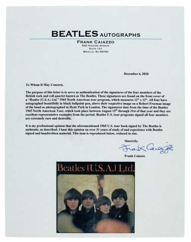 View 2. Thumbnail of Lot 36. THE BEATLES | US souvenir tour booklet, signed by all four, August 1965.