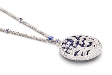 View 2. Thumbnail of Lot 1035. 'Wave' Sapphire and Diamond Pendent Necklace | 格拉夫| 'Wave' 藍寶石 配 鑽石 項鏈 (藍寶石及鑽石共重約11.30及11.90克拉).