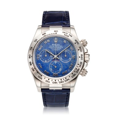 View 2. Thumbnail of Lot 9. REFERENCE 116519 DAYTONA A RARE WHITE GOLD AUTOMATIC CHRONOGRAPH WRISTWATCH WITH SODALITE DIAL, CIRCA 2002.