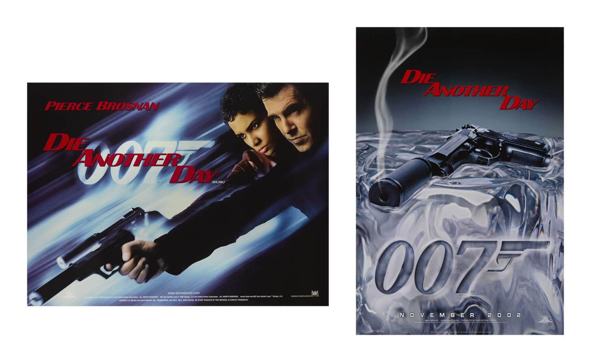 'DIE ANOTHER DAY (2002) TWO POSTERS: BRITISH, ADVANCE, BOND / JINX, WITH US, ADVANCE