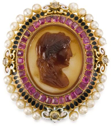 View 1. Thumbnail of Lot 114. JOHAN GEORG (GEORGES) BISSINGER (1836-1912), FRENCH, PARIS, CIRCA 1870 | CAMEO WITH THE PROFILE OF A ROMAN WOMAN, PERHAPS A PTOLEMAIC PRINCESS.