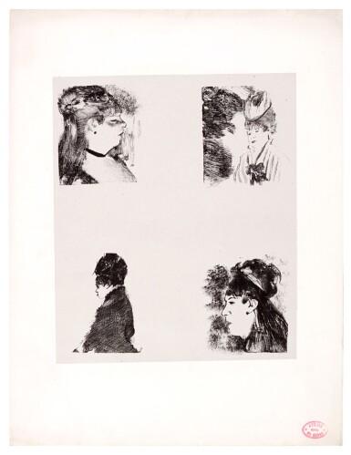 EDGAR DEGAS   FOUR HEADS OF WOMEN (QUATRE TÊTES DE FEMMES) (DELTEIL 54; ADHEMAR 44; REED & SHAPIRO 27)