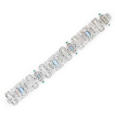 View 2. Thumbnail of Lot 17. BRACELET AIGUES-MARINES, CALCEDOINE ET DIAMANTS | ACQUAMARINE, CHALCEDONY AND DIAMOND BRACELET .