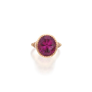 View 1. Thumbnail of Lot 146. Nigel O 'Reilly | Garnet, Fancy Colored Sapphire and Colored Diamond 'Plato's Garnet' Ring.