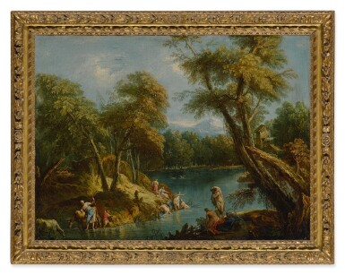 A wooded landscape with figures and animals by a lake
