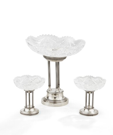 View 1. Thumbnail of Lot 72. A SET OF THREE SILVER AND CUT-CRYSTAL CENTERPIECES, RUSSIA, 1908-1917 |  CENTRES DE TABLE EN ARGENT ET CRISTAL, RUSSIE, 1908-1917 .