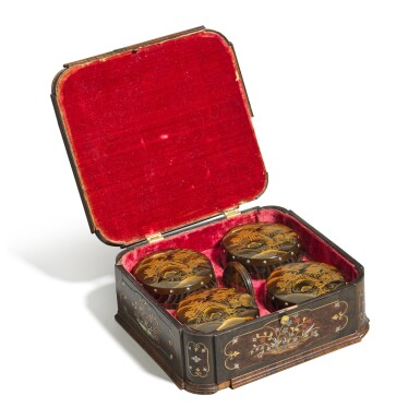 View 2. Thumbnail of Lot 14. A German gilt-brass and mother-of-pearl inlaid wood casket, Bavaria, circa 1725.
