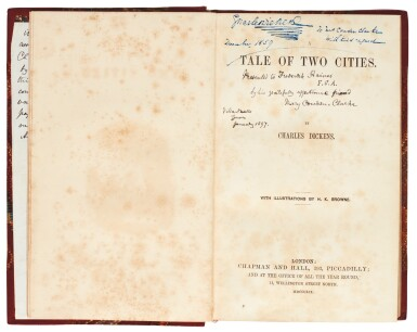 View 2. Thumbnail of Lot 175. Dickens, A Tale of Two Cities, 1858, presentation copy in presentation binding inscribed to Mrs Cowden Clarke, letter.