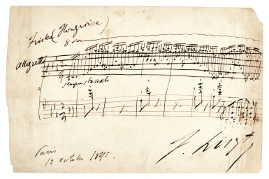 """View 1. Thumbnail of Lot 50. F. Liszt. Autograph musical quotation from """"Magyar dallok"""" no.7, S.242/7, signed, 12 October 1842."""