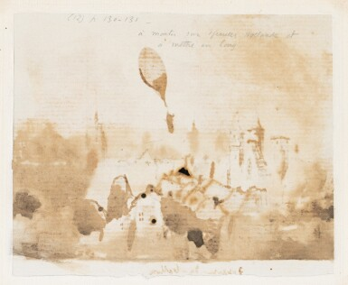 View 2. Thumbnail of Lot 83. Hugo. Départ du ballon. Dessin original à la plume (130 x 113 mm)..