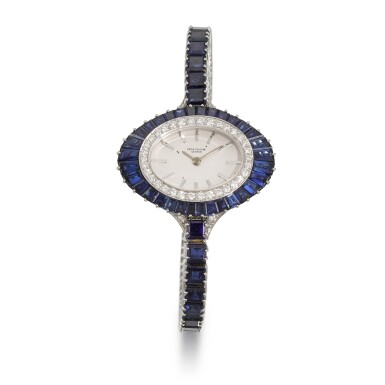 View 1. Thumbnail of Lot 319. PATEK PHILIPPE | REFERENCE 4020/1, WHITE GOLD, DIAMOND AND SAPPHIRE-SET BRACELET WATCH, MADE IN 1973.