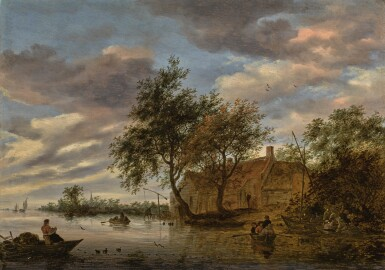 View 1. Thumbnail of Lot 136. SALOMON VAN RUYSDAEL   River landscape with figures in rowing boats, and fishermen hauling a net in the foreground.