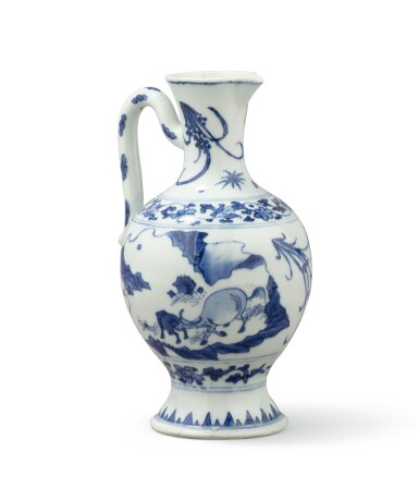 View 1. Thumbnail of Lot 378. A blue and white ewer, China, Qing Dynasty, 19th century.
