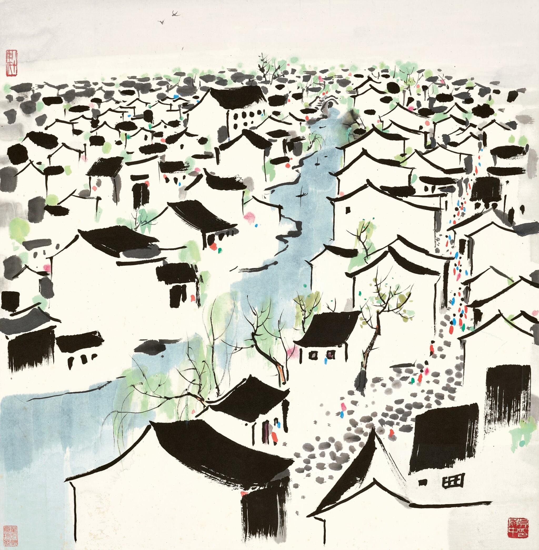 View full screen - View 1 of Lot 2518. Wu Guanzhong 吳冠中 | The Hometown of Lu Xun 魯迅故鄉.