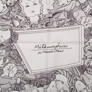"View 1. Thumbnail of Lot 86. Hermès ""Metamorphoses Par Hermès-Paris"" Silk Twill Scarf 90cm."
