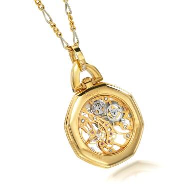 View 3. Thumbnail of Lot 74. Diamond pendant watch.
