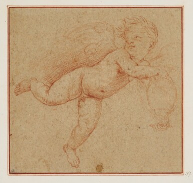 CIRCLE OF SIMONE CANTARINI, CALLED IL PESARESE | A putto in flight holding an urn