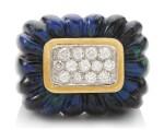 AZURMALACHITE AND DIAMOND RING, DAVID WEBB