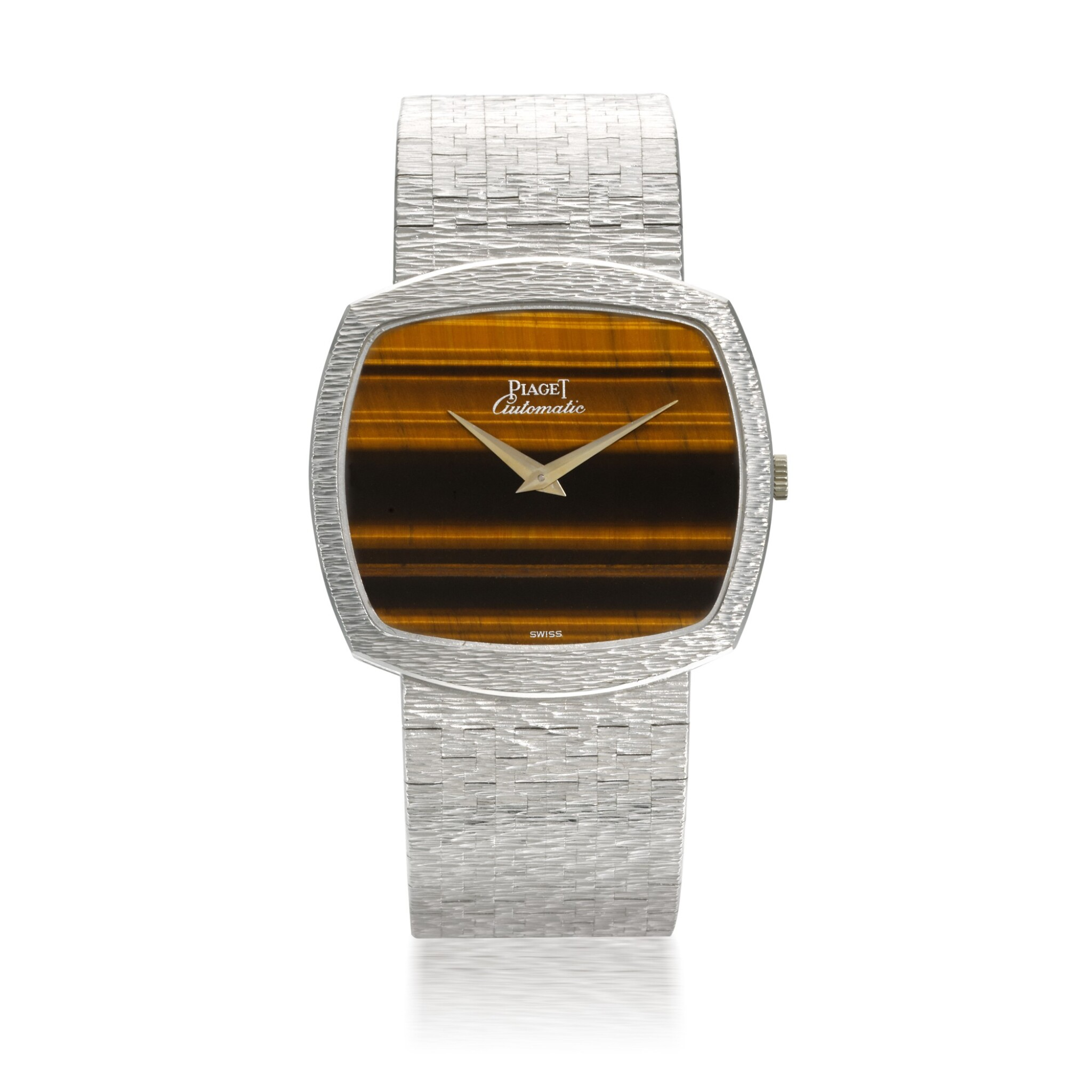 View full screen - View 1 of Lot 1204. PIAGET | REF 12731 A6, WHITE GOLD BRACELET WATCH WITH TIGER'S EYE DIAL CIRCA 1990.