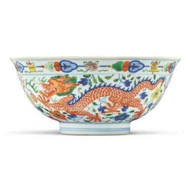 View 1. Thumbnail of Lot 174. A wucai 'dragon and phoenix' bowl, Qianlong seal mark and period | 清乾隆 五彩龍鳳呈祥紋盌  《大清乾隆年製》款.