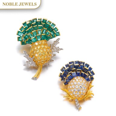 View 1. Thumbnail of Lot 303. VERDURA | PAIR OF SAPPHIRE, EMERALD AND DIAMOND BROOCHES, 'THISTLE', 1960.