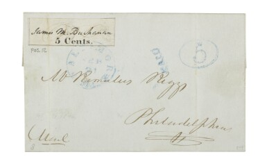 View 1. Thumbnail of Lot 2. Postmaster's Provisional, Baltimore, MD. 1845 5c Black (3X1).
