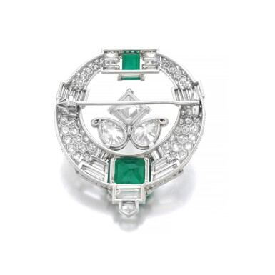 CARTIER [ 卡地亞] | EMERALD AND DIAMOND BROOCH, 1930S [祖母綠配鑽石別針,1930年代]